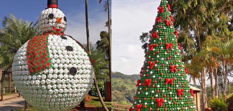 Pelo segundo ano, município aposta em decoração com garrafas pet