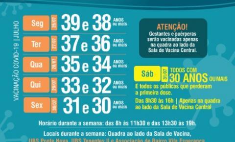 Extrema anuncia vacinação para novas faixas etárias