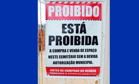 Venda de jazigos deve passar pela prefeitura